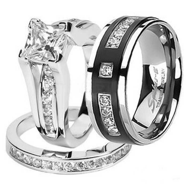 Hers and His Stainless Steel Princess Wedding Ring Set and Titanium Wedding Band