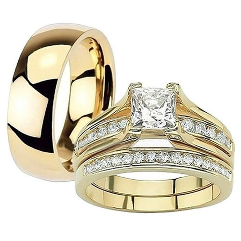ST0W384-AR002 Her & His 14K G.P. Stainless Steel 3pc Wedding Engagement Ring & Men's Band Set