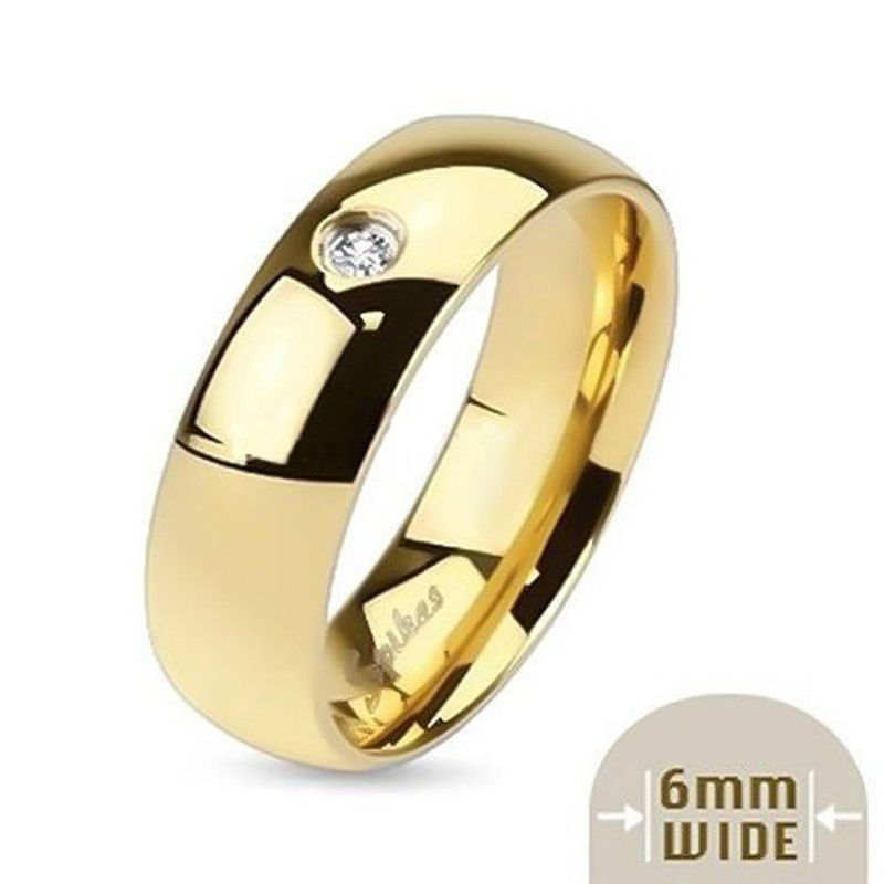 ST0W384-AR012 His & Her 14K G.P. Stainless Steel 3pc Wedding Engagement Ring & Men's Band Set