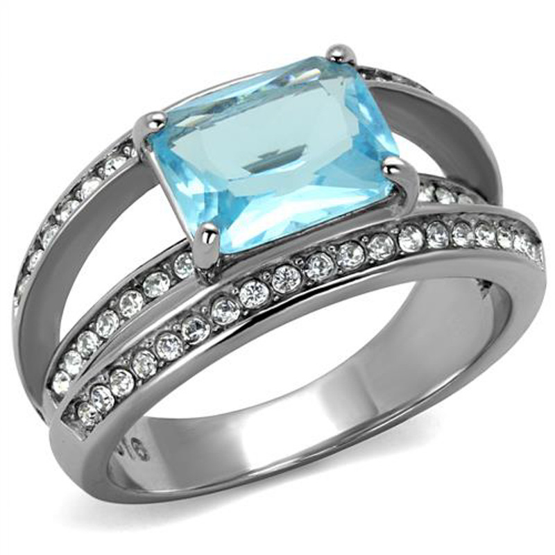 Womens Stainless Steel 4.07Ct Emerald Cut Sea Blue Crystal Cocktail Ring Sz 5-10