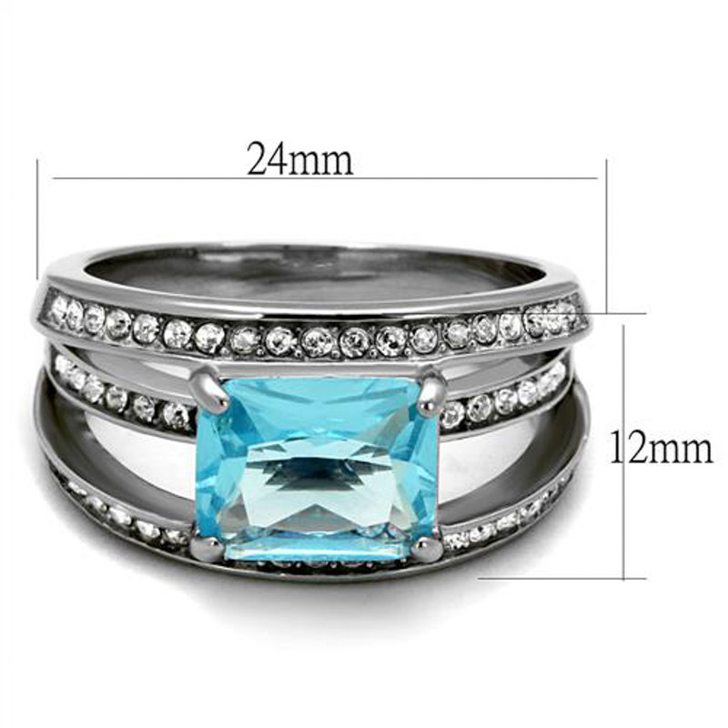 ARTK2608 Womens Stainless Steel 4.07Ct Emerald Cut Sea Blue Crystal Cocktail Ring Sz 5-10