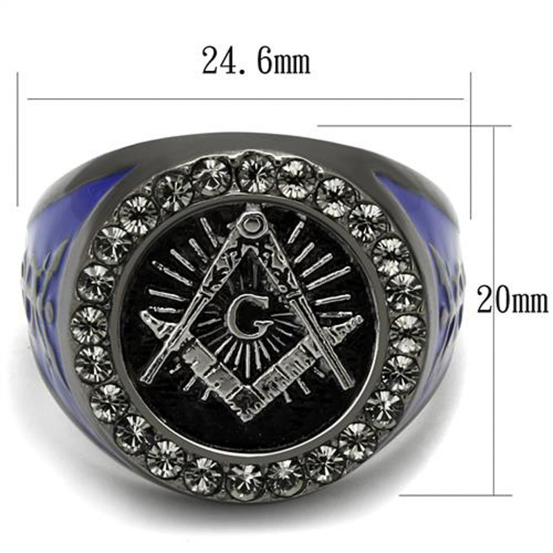ARTK2637 Stainless Steel Black & Blue Ion Plated Crystal Masonic Freemason Ring Sz 8-13