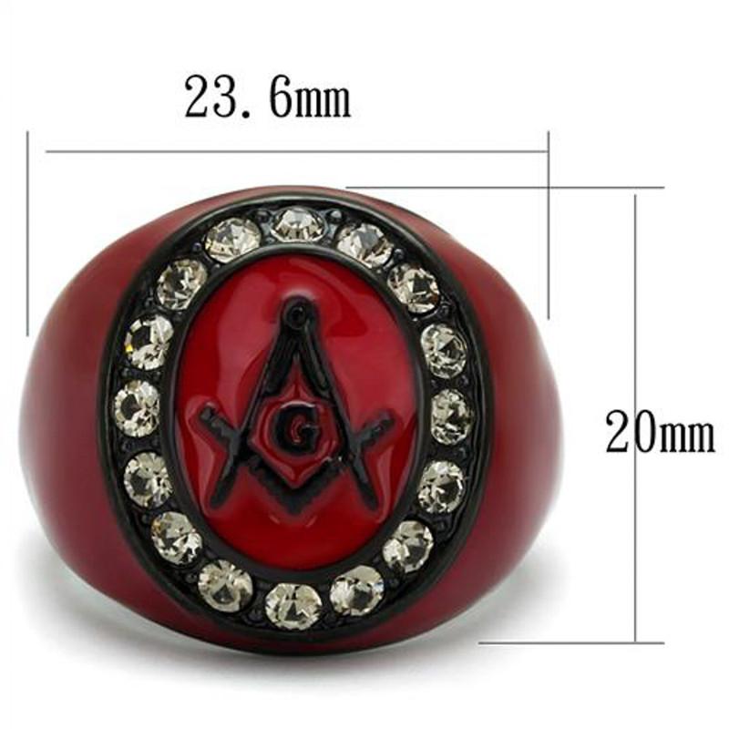 ARTK2638 Stainless Steel Red & Black Ion Plated Crystal Masonic Freemason Ring Sz 8-13