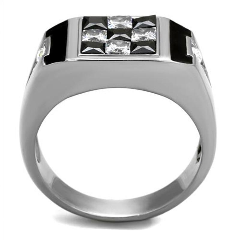 ARTK2663 Men's 2.56 Ct Clear & Black Princess Cut CZ Stainless Steel Fashion Ring Sz 8-13
