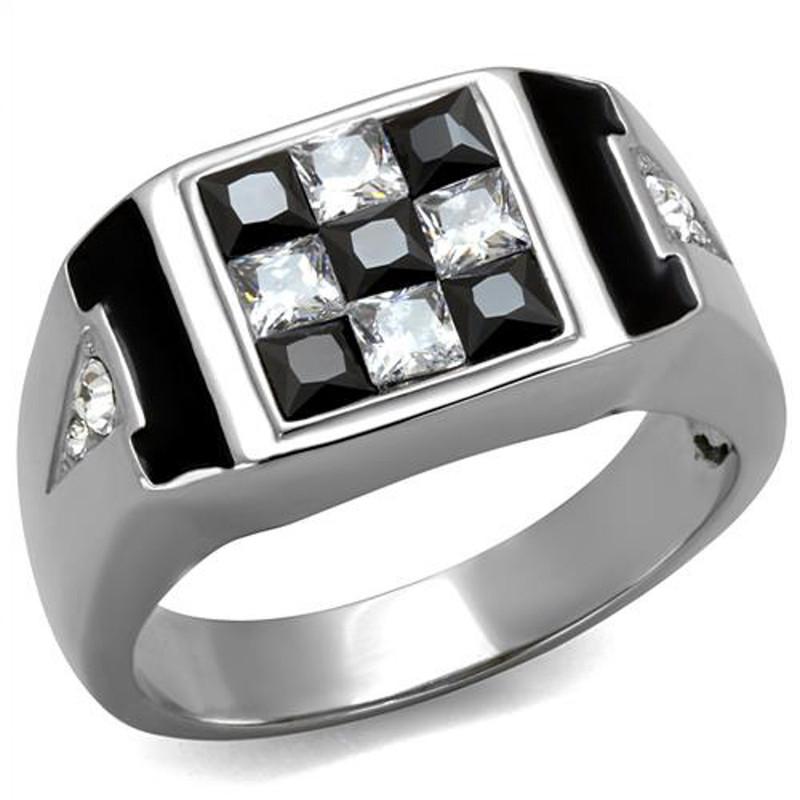 Men's 2.56 Ct Clear & Black Princess Cut CZ Stainless Steel Fashion Ring Sz 8-13