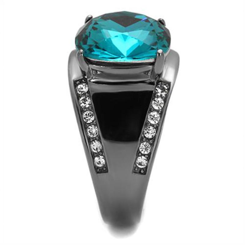 ARTK2678 Women's Light Black Stainless Steel 7.2 Ct Blue Zircon Crystal Cocktail Ring