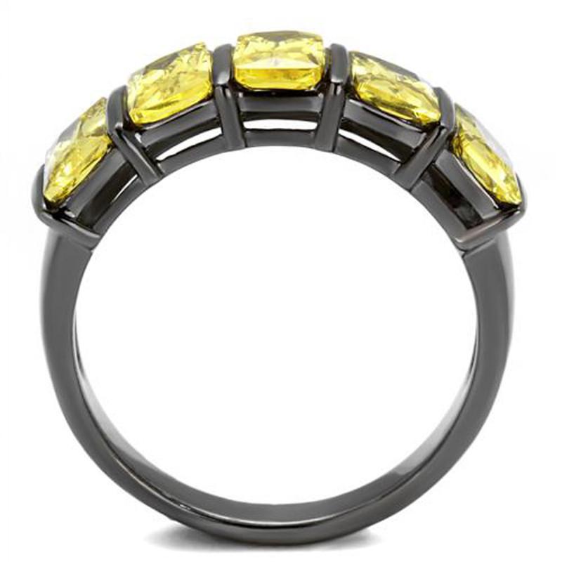 ARTK2683 4.4 Ct Emerald Cut Topaz Light Black Stainless Steel Cluster Ring Womens Sz 5-10