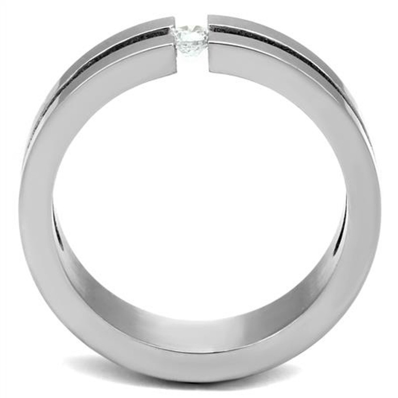 ARTK2412 Women's 0.11 Ct Round Cut CZ Stainless Steel Wedding Band Ring Size 6, 7, or 8
