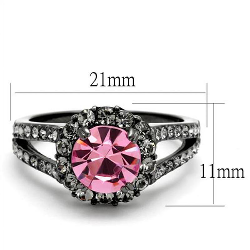 ARTK2680 Light Black Stainless Steel 2.87 Ct Light Rose Crystal Halo Engagement Ring