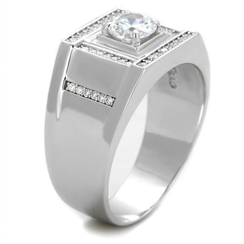 ARTS386 Mens 1.07Ct Round Cut Simulated Diamond 925 Sterling Silver Rhodium Plated Ring