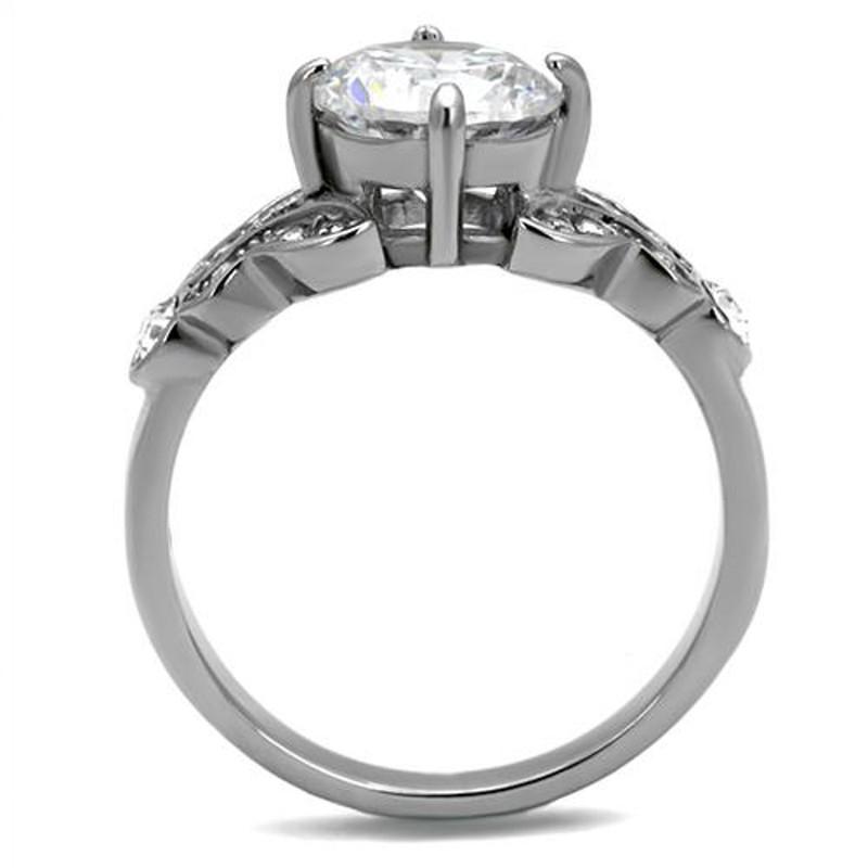 ARTK2767 Stainless Steel 2.25 Ct Round Cut Zirconia Engagement Ring Women's Size 5-10