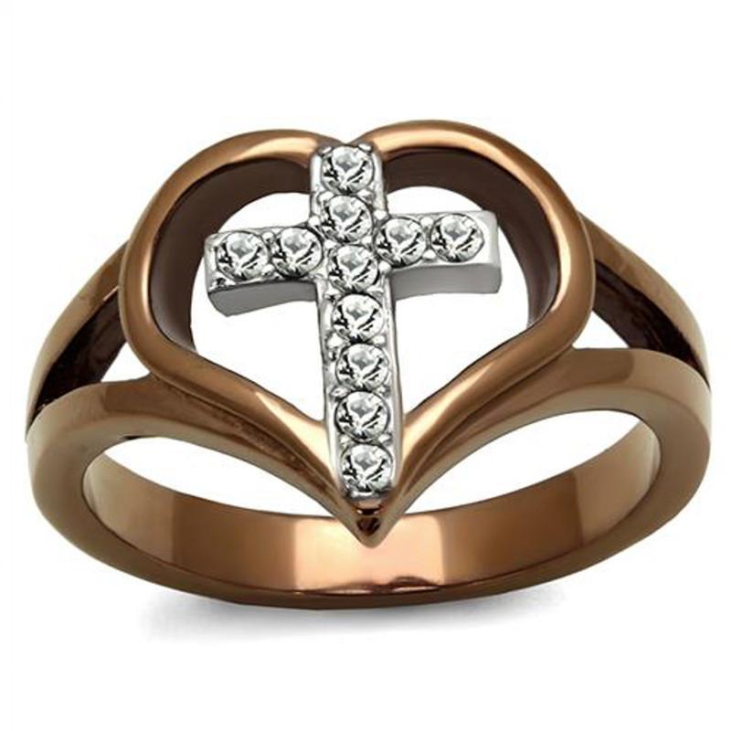 Light Coffee Stainless Steel Crystal Cross & Heart Fashion Ring Womens Sz 5-10