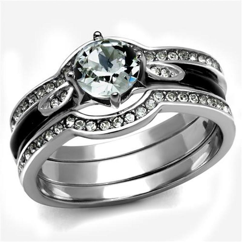 ARTK2843 1.1 Ct Round Cut Zirconia 3pc Stainless Steel Wedding Ring Set Women's Size 5-10