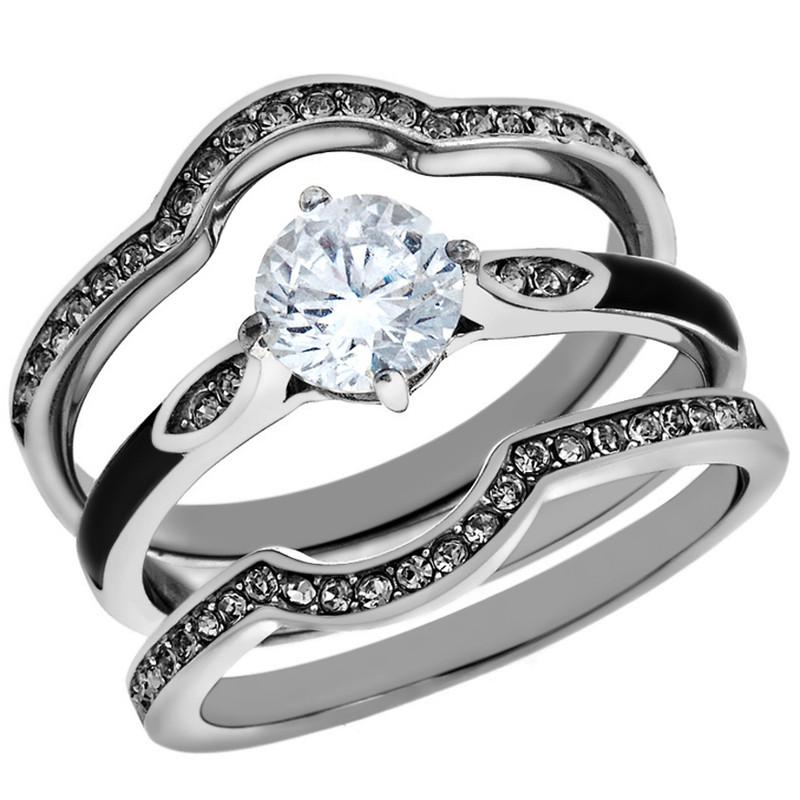 1.1 Ct Round Cut Zirconia 3pc Stainless Steel Wedding Ring Set Women's Size 5-10