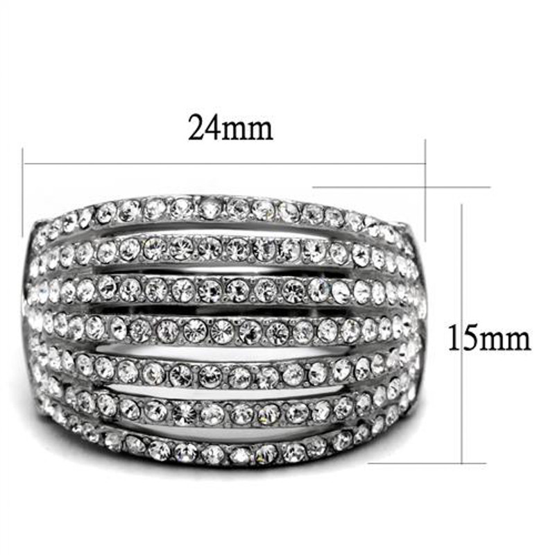 ARTK2901  Stainless Steel High Polished Crystal Cocktail Fashion Ring Women's Size 5-10