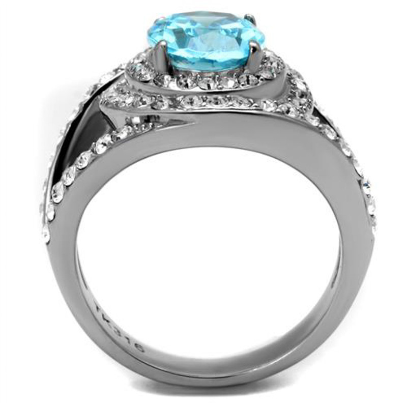 ARTK2900  Stainless Steel 3.68 Ct Oval Cut Sea Blue CZ Halo Cocktail Ring Women's 5-10