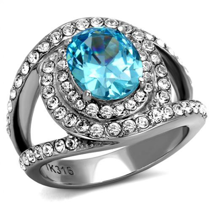3.68 Ct Oval Cut Sea Blue CZ Stainless Steel Halo Cocktail Ring Women's 5-10