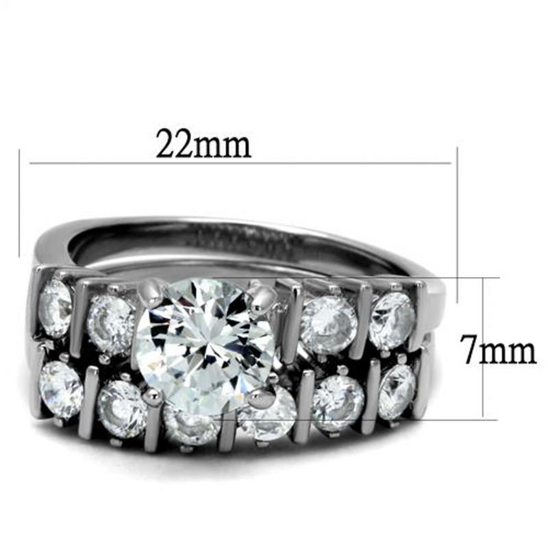 ARTK2869 Stainless Steel 2.38 Ct Round Cut Cz Women's Engagement Wedding Ring Band Set