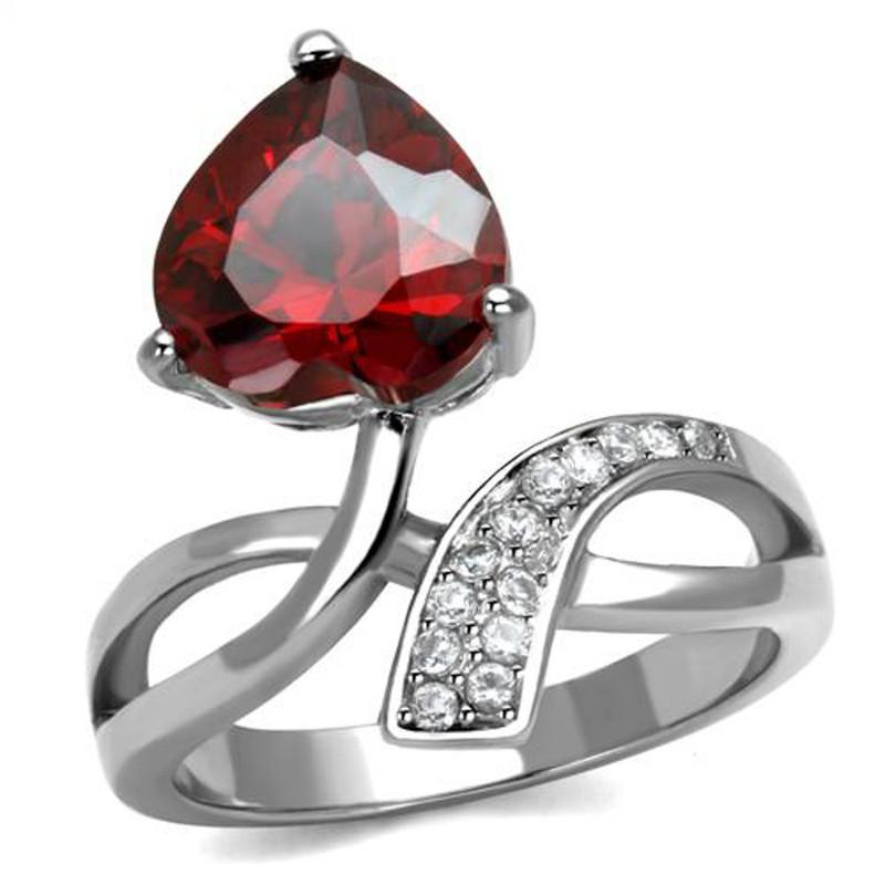 3.22 Ct Heart Shape Garnet Color Cz Stainless Steel Fashion Ring Women's Sz 5-10