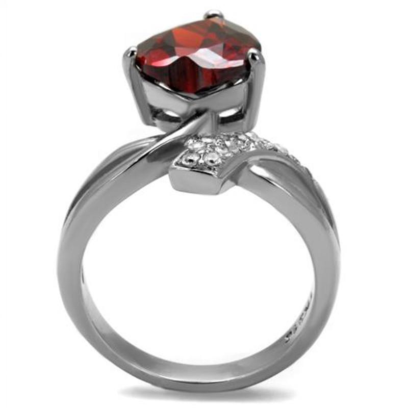 ARTK2863 Stainless Steel 3.22 Ct Heart Shape Garnet Color Cz Fashion Ring Women's Sz 5-10