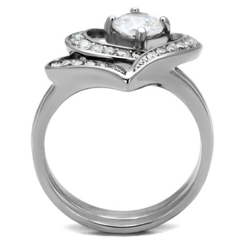 ARTK2868 Stainless Steel 1.2 Ct Round Cut Cz 2 Piece Heart Shape Women's Wedding Ring Set