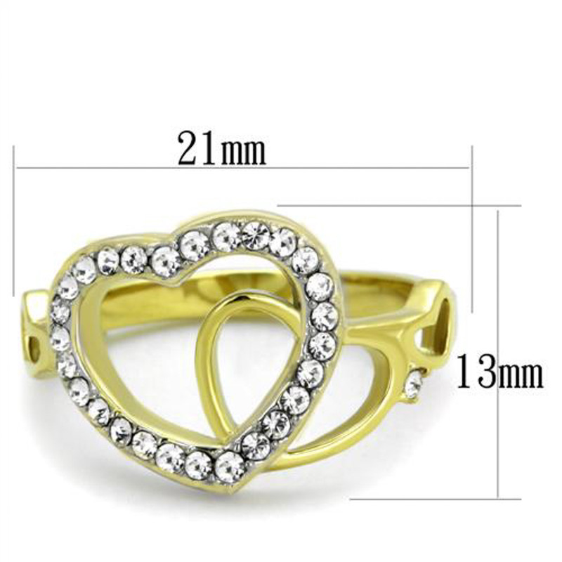 ARTK1908 Women's 14k Gold Ion Plated Stainless Steel Heart & Crystal Fashion Ring Sz 5-10