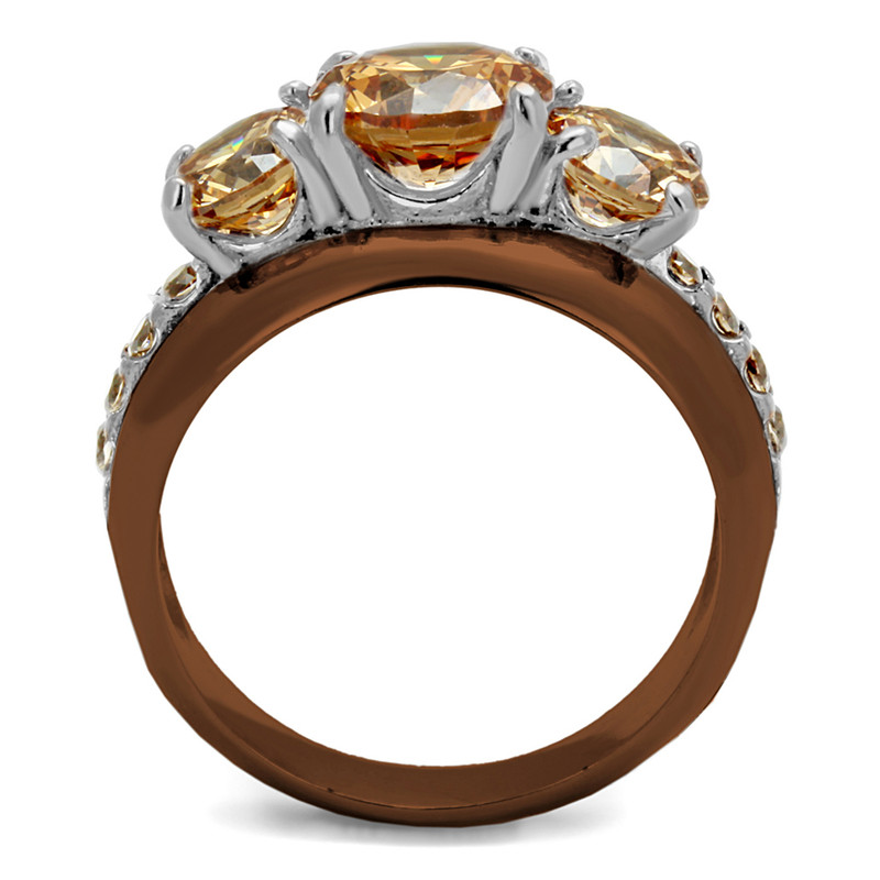 ARTK2656 Light Brown IP Stainless Steel 4.45 Ct Round Cut Champagne CZ Engagement Ring