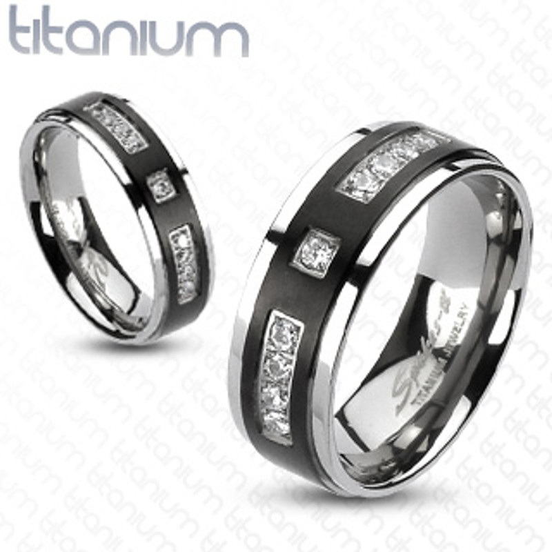 ST1347-ARTI4317 His & Her 4pc Black & Silver Stainless Steel & Titanium Wedding Ring Band Set