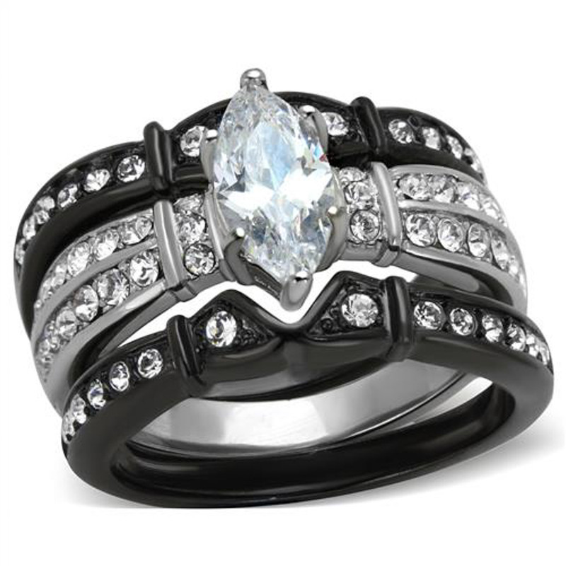 ST1922-ARTI4317 Her & His 4pc Black Stainless Steel & Titanium Wedding Engagement Ring Band Set