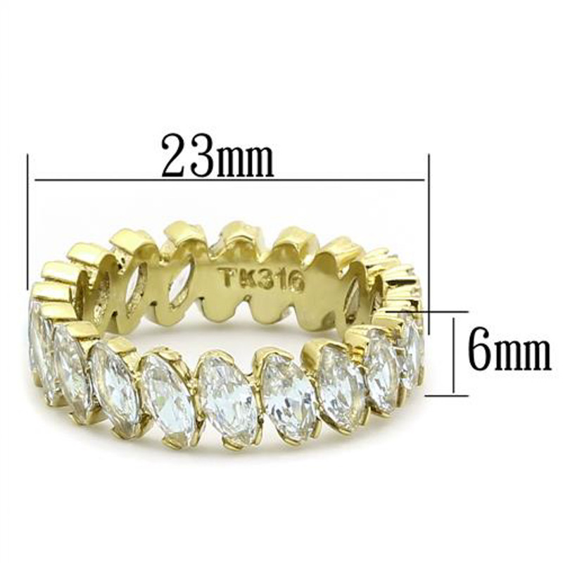 ARTK1234 Women's Marquise Cut Cz 14K Gold IP Stainless Steel Eternity Wedding Ring Band
