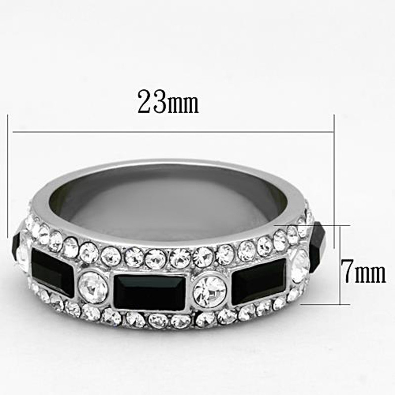 ARTK1677 Women's Black Baguette & Clear Round Cut CZ Stainless Steel Eternity Ring Band