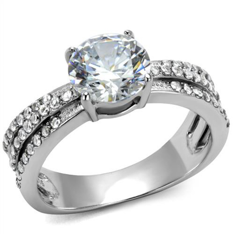 Women's 2.22 Ct Round Cut Zirconia Stainless Steel Engagement Ring Size 5-10