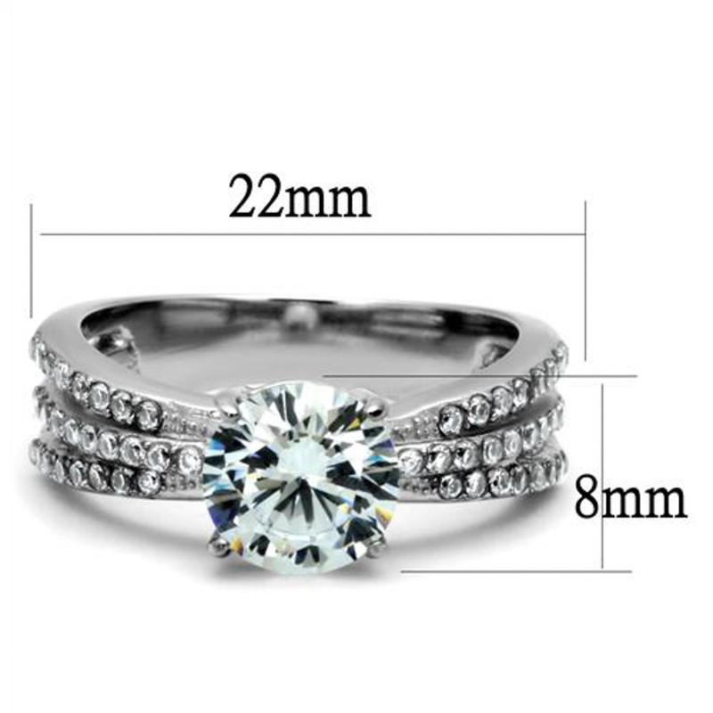 ARTK2862 Women's 2.22 Ct Round Cut Zirconia Stainless Steel Engagement Ring Size 5-10
