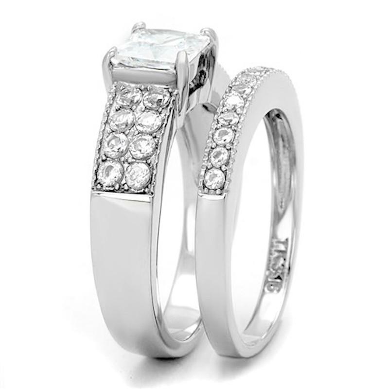 ARTK2915 Women's 2.07 Ct Princess Cut Zirconia Stainless Steel Wedding Ring Set Size 5-10