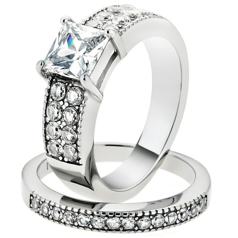 2.07 Ct Princess Cut Zirconia Stainless Steel Wedding Ring Set Women's Size 5-10