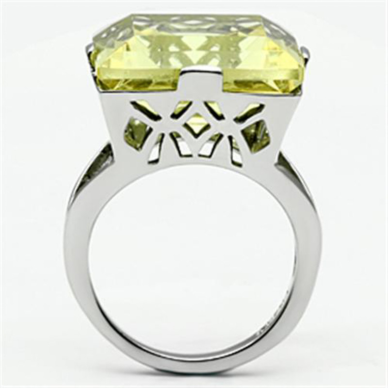 ARTK649 Stainless Steel 32.44Ct Princess Cut Citrine Yellow Cubic Zirconia Cocktail Ring