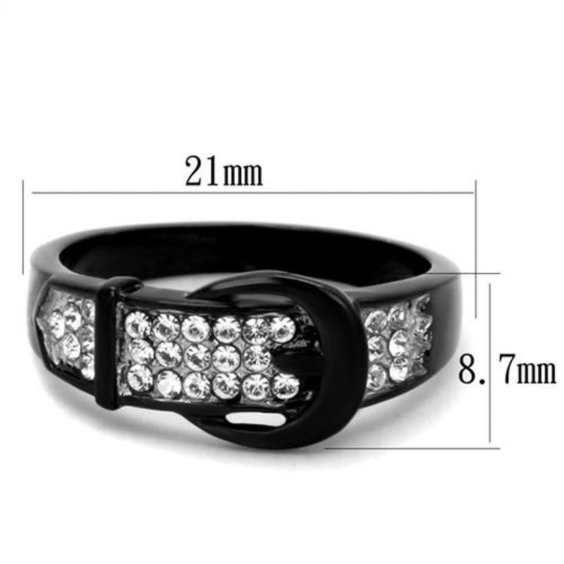 ARTK1868 Black Stainless Steel Belt Buckle Round Cut Crystal Fashion Ring Women's Sz 5-10