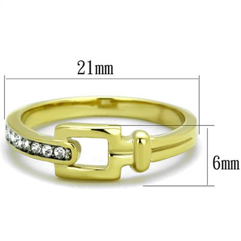 ARTK2164 14k Gold Ion Plated Stainless Steel Buckle & Crystal Fashion Ring Women's Sz 5-10