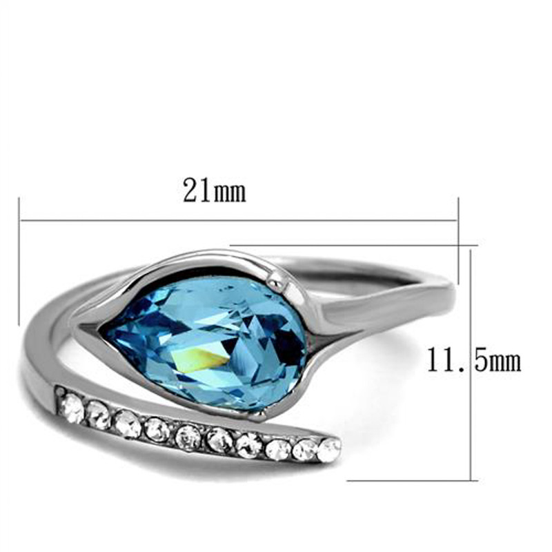 ARTK2174 Women's 1.95 Ct Pear Cut Sea Blue Crystal Stainless Steel Cocktail Ring Sz 5-10
