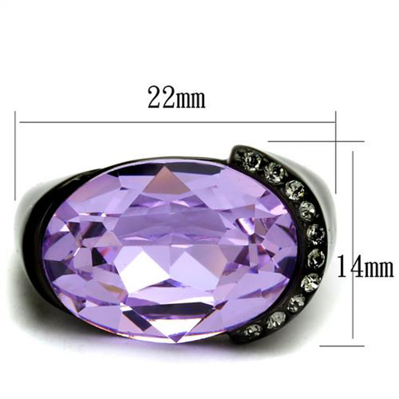 ARTK2485 Women's 13 Ct Oval Cut Light Amethyst CZ Black IP Stainless Steel Cocktail Ring