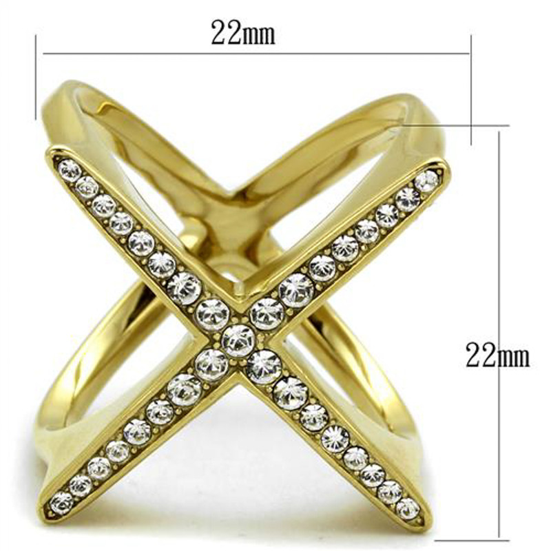 ARTK2497 Womens 14k Gold Ion Plated Stainless Steel X Shaped Crystal Fashion Ring Sz 5-10