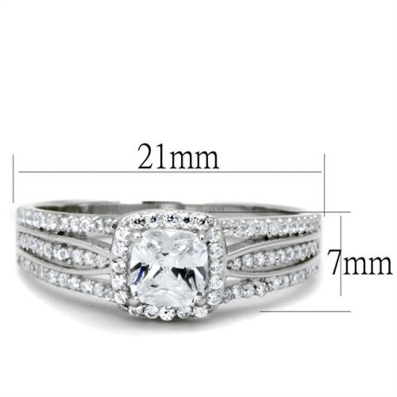 ARTS454 Women's .925 Sterling Silver Rhodium Plated .66Ct Cushion Cut Cz Engagement Ring