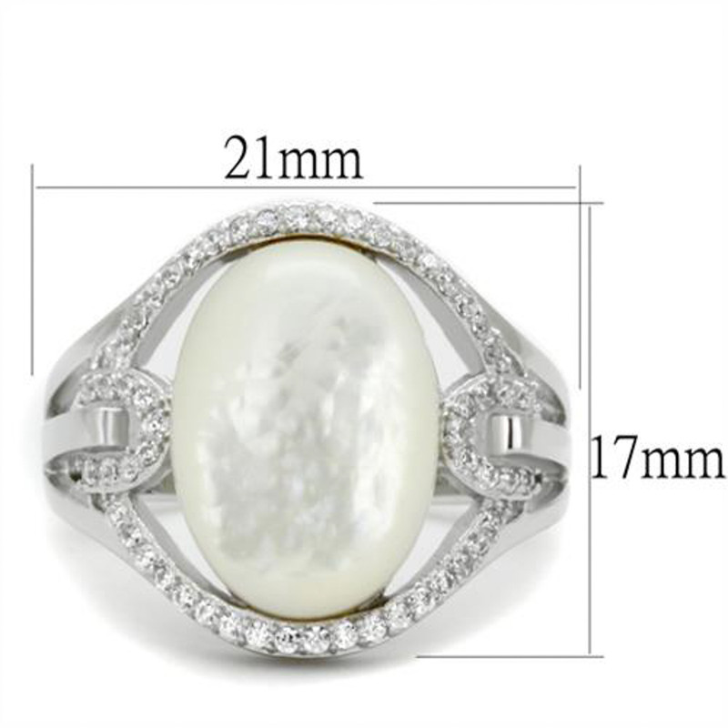 ARTS456 Women's .925 Sterling Silver Rhodium Plated Precious Stone Conch Engagement Ring