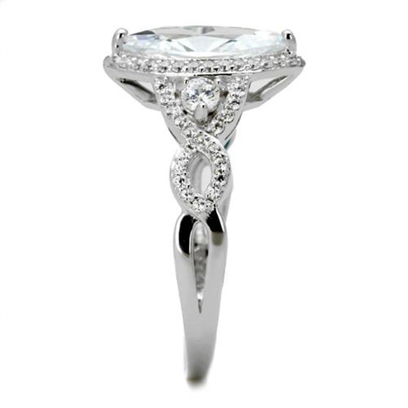ARTS457 Women's .925 Sterling Silver Rhodium Plated 1.8 Ct Marquise Cz Engagement Ring