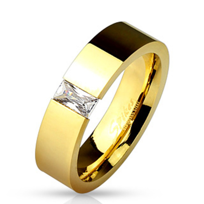 Tension Set Radiant Cut CZ Stainless Steel Gold IP Wedding Band Ring Size 5-13