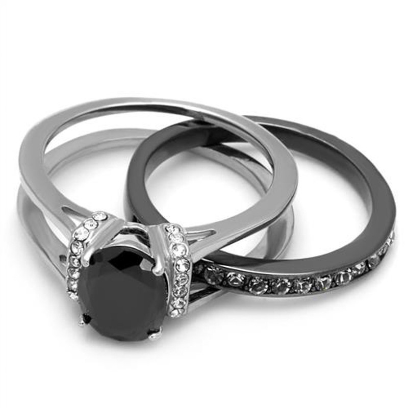 ARTK2971 2.12 Ct Oval Cut Black Cz Two Toned Ion Plated Stainless Steel Wedding Ring Set