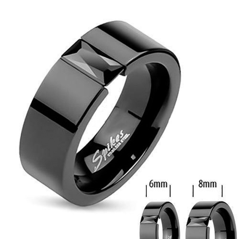 ST1869-ARM2620 His Hers 4Pc Black Ion Plated Stainless Steel Wedding Engagement Ring Band Set