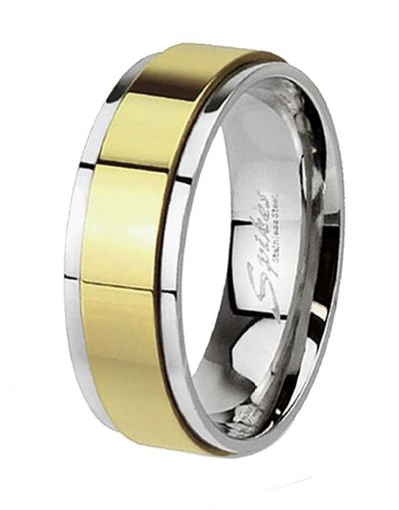 ARH1659 Two Toned Gold Ion Plated Stainless Steel Spinner Wedding Band Ring Sizes 5-14