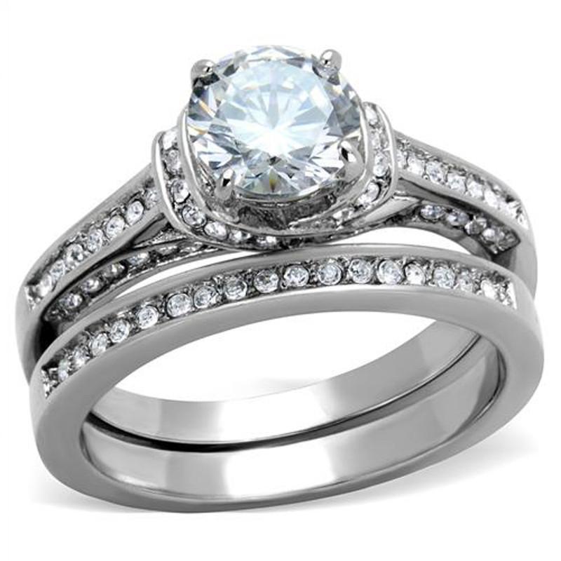 ST1919-RTI4317 His & Her Stainless Steel 2.75 Ct Cz Bridal Set & Men's Titanium Wedding Band