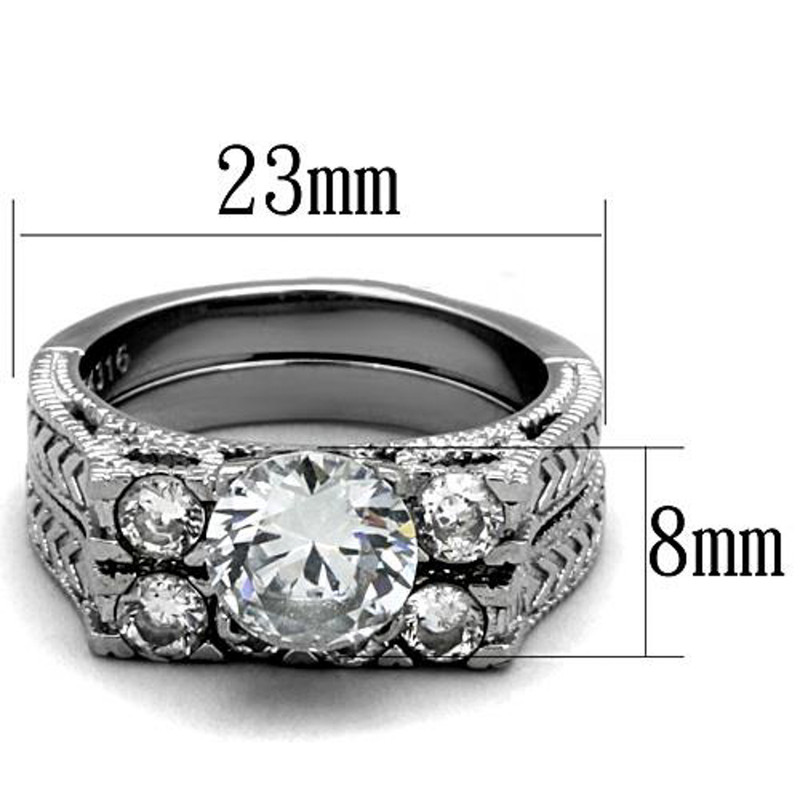 ST5X019-AR001 His & Her 3pc Stainless Steel 2.95 Ct Cz Bridal Set & Men's Classic Wedding Band